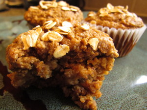 Roasted Banana Oat Muffins