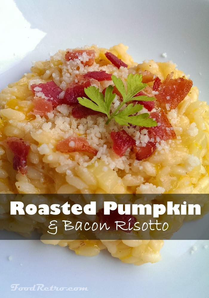 Risotto with Home-Roasted Pumpkin Puree, Bacon, Pecorino, and Parmesan - Delicious!