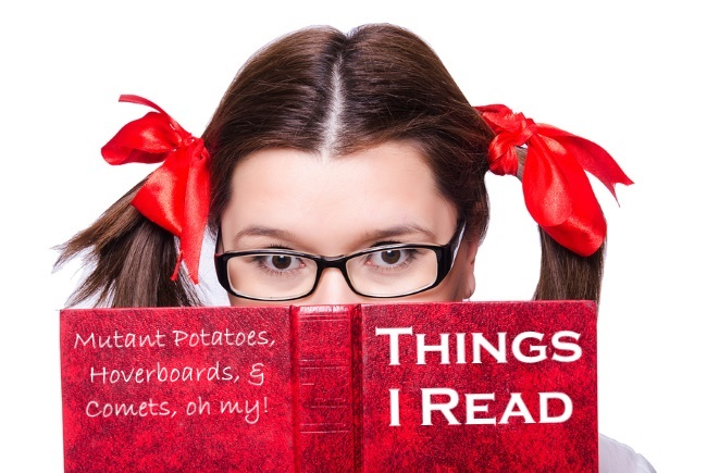 Funny girl with book on white