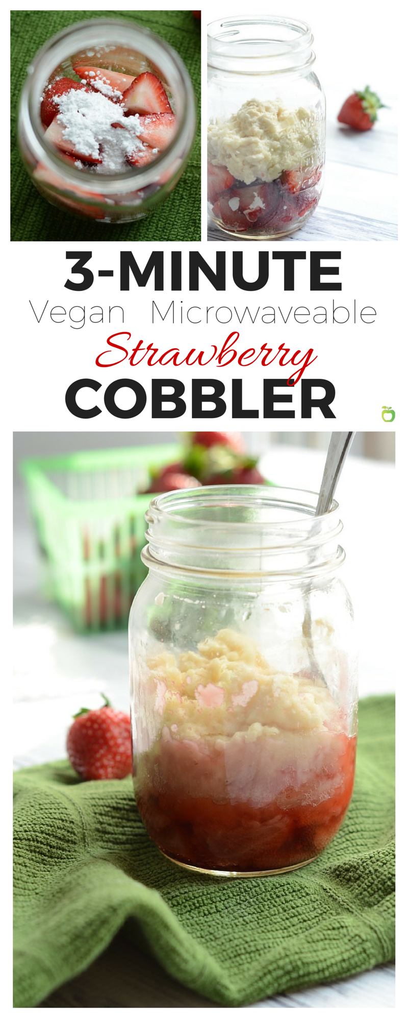 This 3 Minute Microwaveable Strawberry Cobbler doesn't skimp on delicious! Use different berries for a quick and custom dessert for everyone, and use frozen berries for a hot treat year round! | Vegan